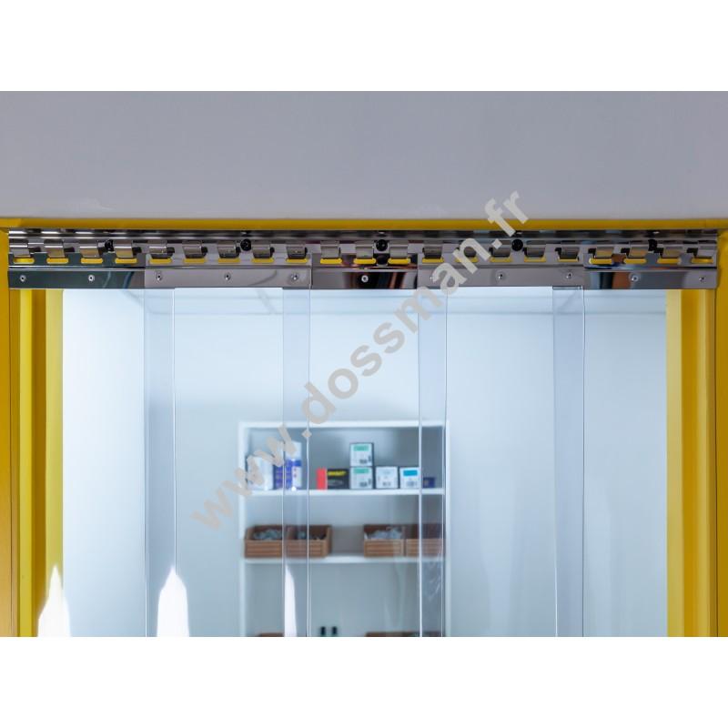 Porte à lanières transparentes 200x2mm, non ignifugée, fort trafic, SUR-MESURE