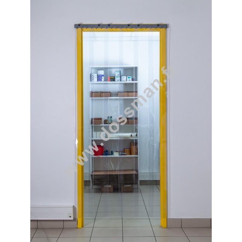 Rideau à lanière PVC - 200x2 mm - Isolation faible 50 mm (50 %) - Transparent Standard - Porte à lamelles QUICK SYSTEM