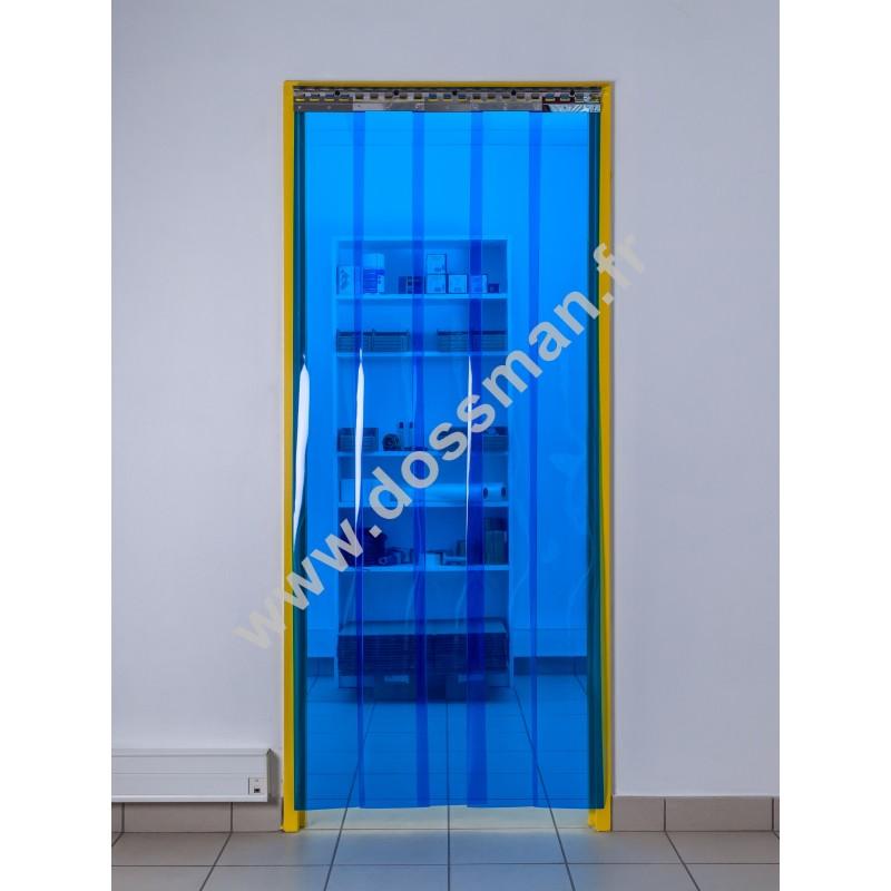 Rideau à lanière PVC - 200x2 mm - Isolation faible 36 mm (36 %) - Transparent Bleu - Porte à lamelles TRAFFIC SYSTEM
