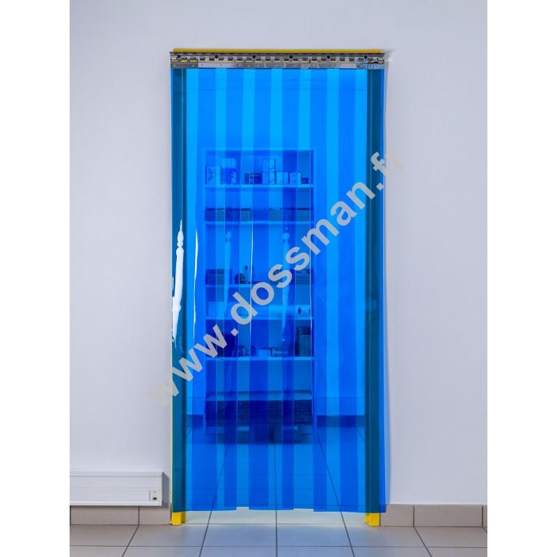 Rideau à lanière PVC - 200x2 mm - Isolation forte 77 mm (77 %) - Transparent Bleu - Porte à lamelles TRAFFIC SYSTEM