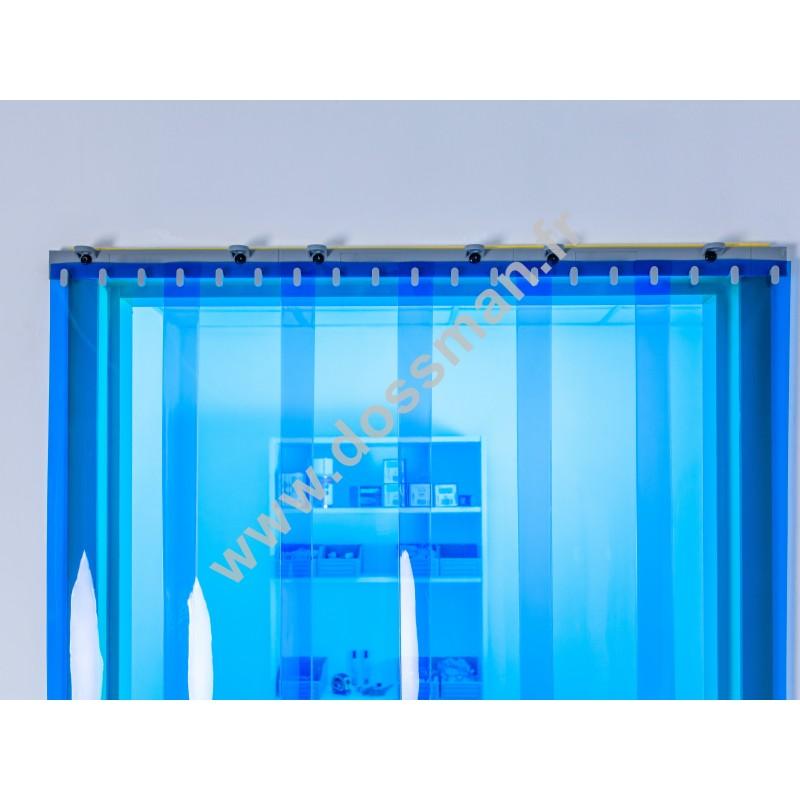 Rideau à lanière PVC - 200x2 mm - Isolation faible 50 mm (50 %) - Transparent Bleu - Porte à lamelles QUICK SYSTEM