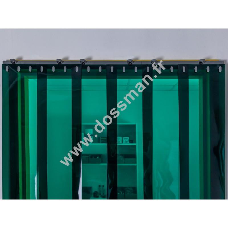 Rideau à lanière PVC - 200x2 mm - Isolation faible 50 mm (50 %) - Transparent Vert - Porte à lamelles QUICK SYSTEM