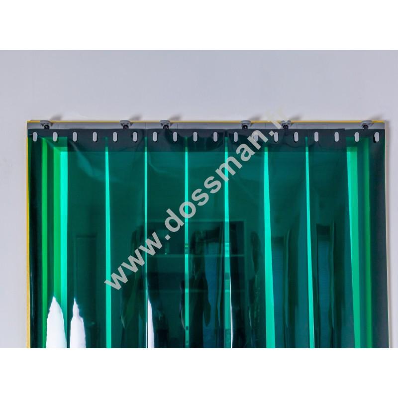 Rideau à lanière PVC - 200x2 mm - Isolation forte 100 mm (100 %) - Transparent Vert - Porte à lamelles QUICK SYSTEM