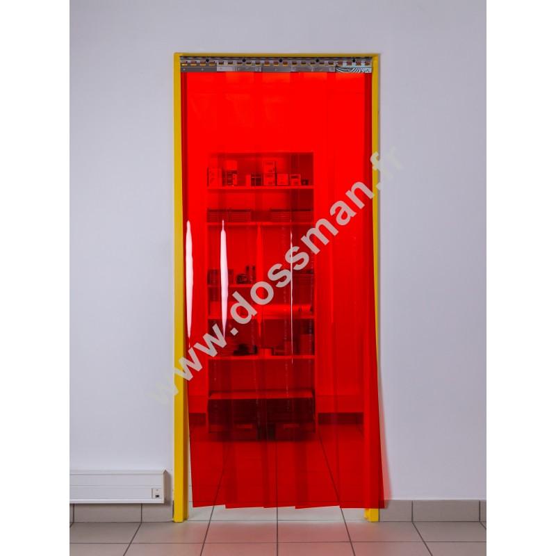 Rideau à lanière PVC - 200x2 mm - Isolation faible 36 mm (36 %) - Transparent Rouge - Porte à lamelles TRAFFIC SYSTEM