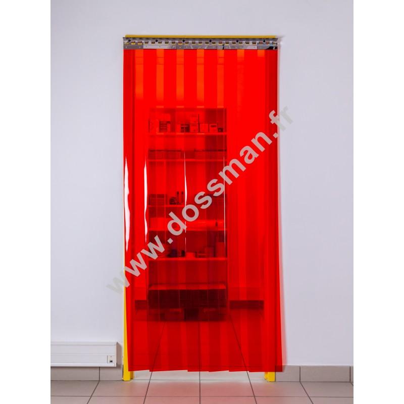 Rideau à lanière PVC - 200x2 mm - Isolation forte 77 mm (77 %) - Transparent Rouge - Porte à lamelles TRAFFIC SYSTEM