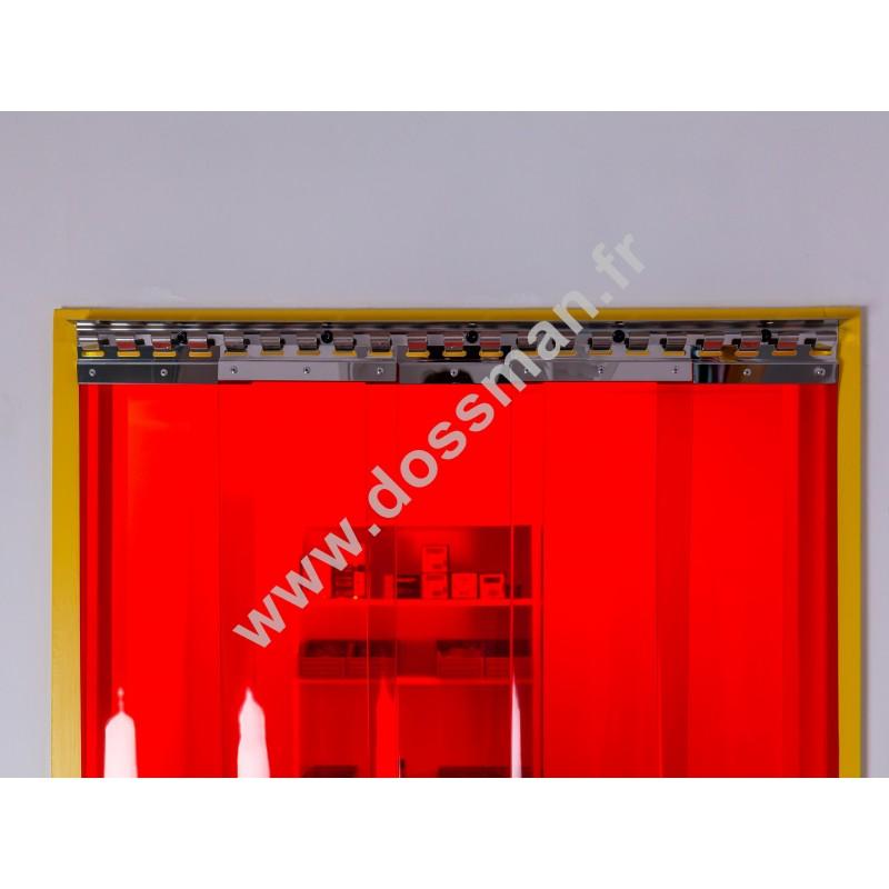 Porte à lanière 200x2 Transparent Standard Positiv Non ignifugé Rouge Traffic SUR MESURE