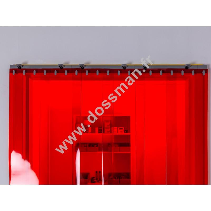 Rideau à lanière PVC - 200x2 mm - Isolation faible 50 mm (50 %) - Transparent Rouge - Porte à lamelles QUICK SYSTEM