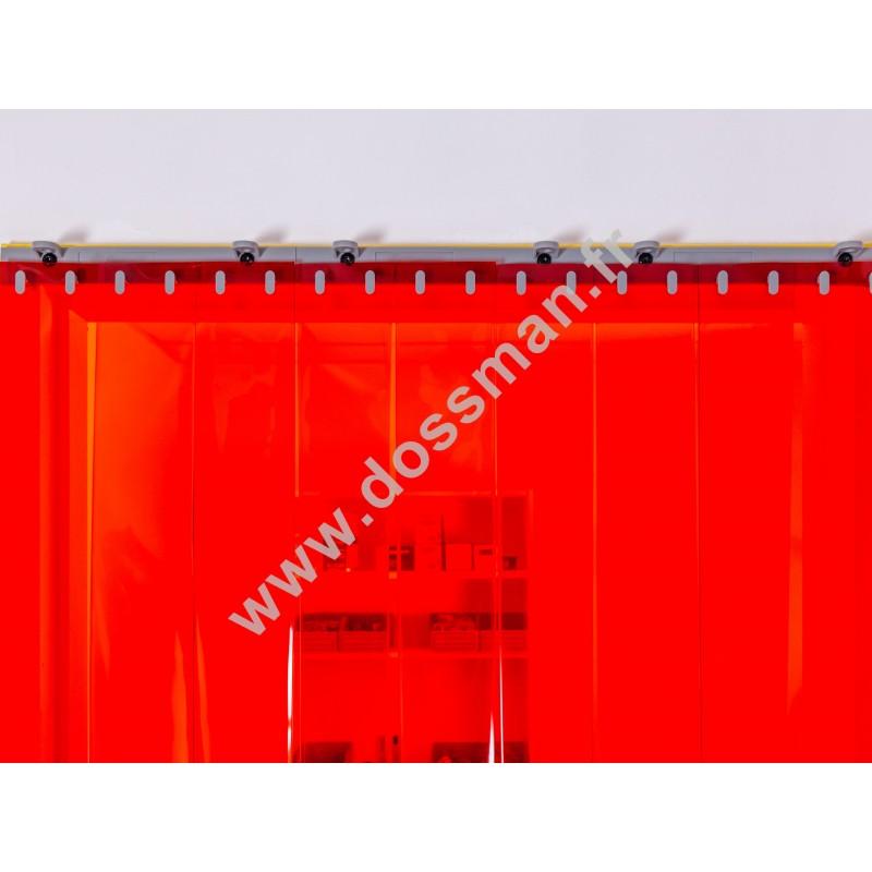 Rideau à lanière PVC - 200x2 mm - Isolation forte 100 mm (100 %) - Transparent Rouge - Porte à lamelles QUICK SYSTEM
