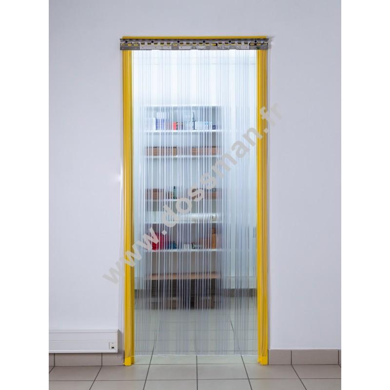 Rideau à lanière PVC - 200x2 mm - Isolation forte 77 mm (77 %) - Transparent - Porte à lamelles TRAFFIC SYSTEM CONFOR