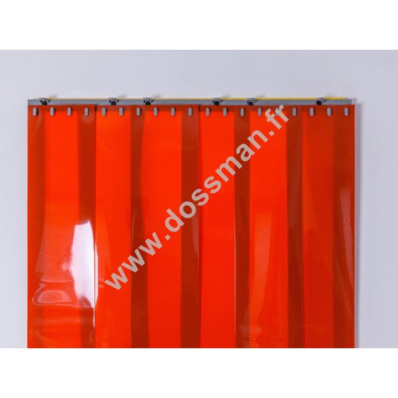 Rideau à lanière PVC - 200x2 mm - Isolation faible 50 mm (50 %) - Opaque Orange - Porte à lamelles QUICK SYSTEM