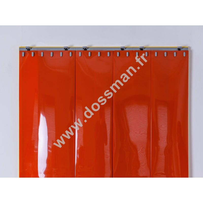 Rideau à lanière PVC - 200x2 mm - Isolation forte 100 mm (100 %) - Opaque Orange - Porte à lamelles QUICK SYSTEM