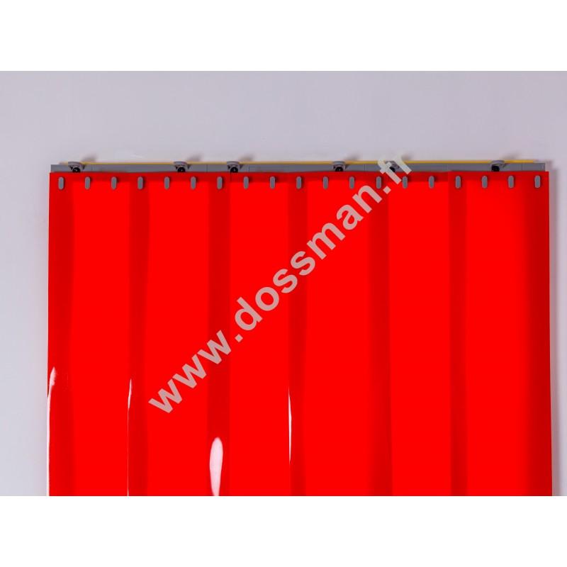 Rideau à lanière PVC - 200x2 mm - Isolation faible 50 mm (50 %) - Opaque Rouge Corail - Porte à lamelles QUICK SYSTEM