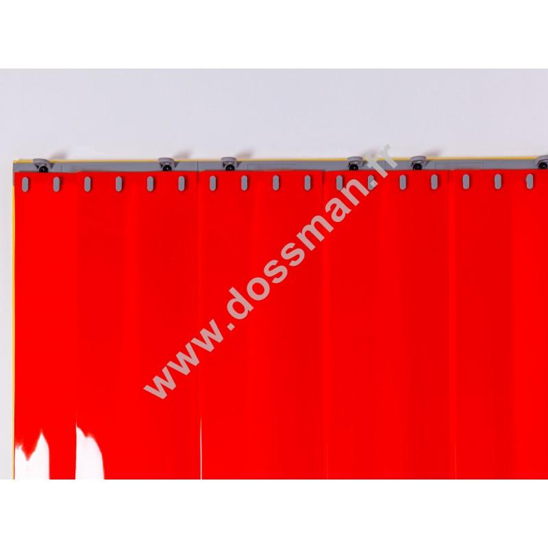 Rideau à lanière PVC - 200x2 mm - Isolation forte 100 mm (100 %) - Opaque Rouge Corail - Porte à lamelles QUICK SYSTEM