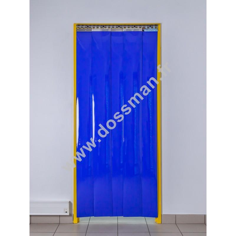 Rideau à lanière PVC - 200x2 mm - Isolation faible 36 mm (36 %) - Opaque Bleu - Porte à lamelles TRAFFIC SYSTEM
