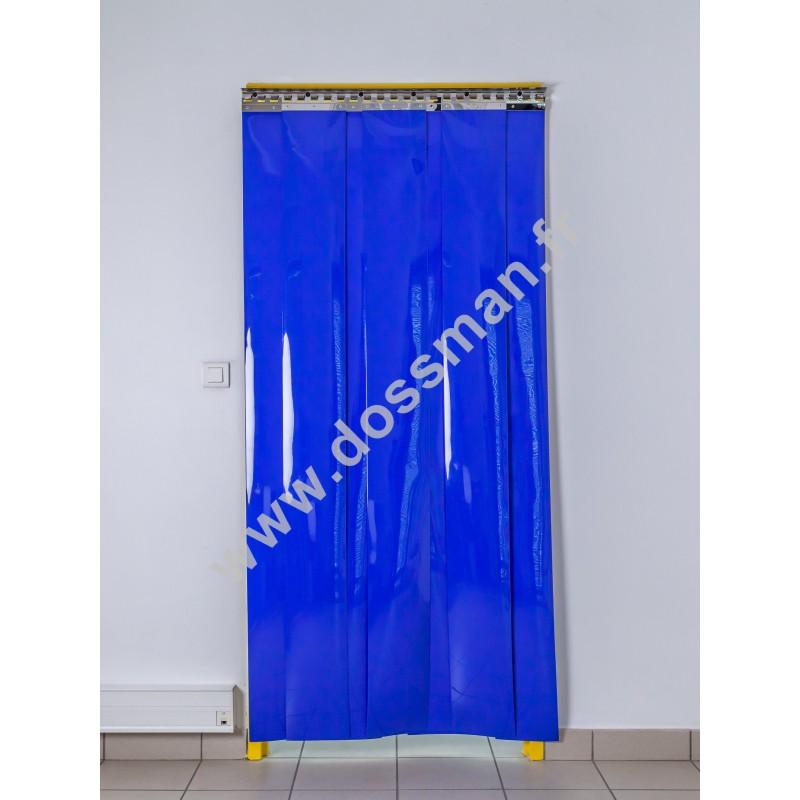 Rideau à lanière PVC - 200x2 mm - Isolation forte 77 mm (77 %) - Opaque Bleu - Porte à lamelles TRAFFIC SYSTEM