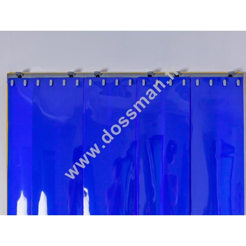 Rideau à lanière PVC - 200x2 mm - Isolation forte 100 mm (100 %) - Opaque Bleu - Porte à lamelles QUICK SYSTEM