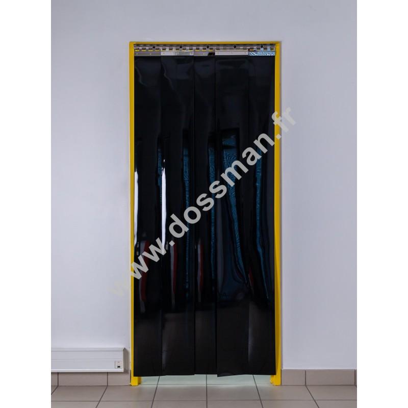 Rideau à lanière PVC - 200x2 mm - Isolation faible 36 mm (36 %) - Opaque Noir - Porte à lamelles TRAFFIC SYSTEM