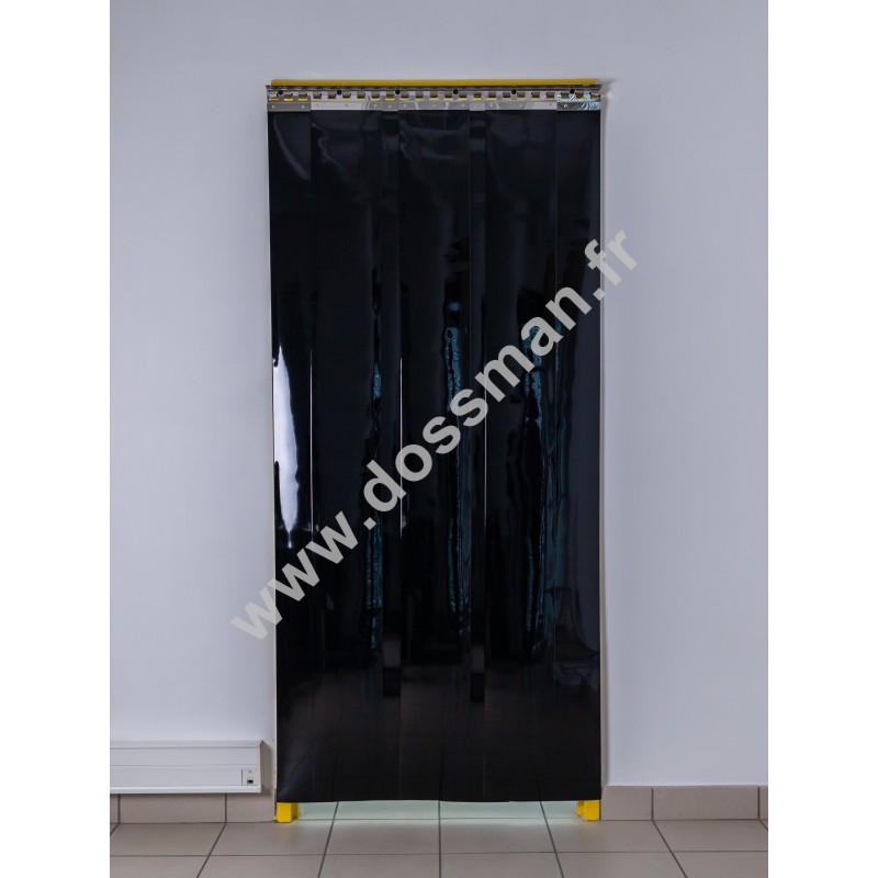 Rideau à lanière PVC - 200x2 mm - Isolation forte 77 mm (77 %) - Opaque Noir - Porte à lamelles TRAFFIC SYSTEM