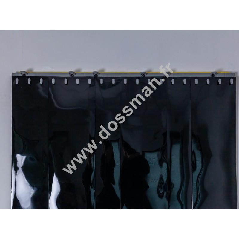 Rideau à lanière PVC - 200x2 mm - Isolation faible 50 mm (50 %) - Opaque Noir - Porte à lamelles QUICK SYSTEM