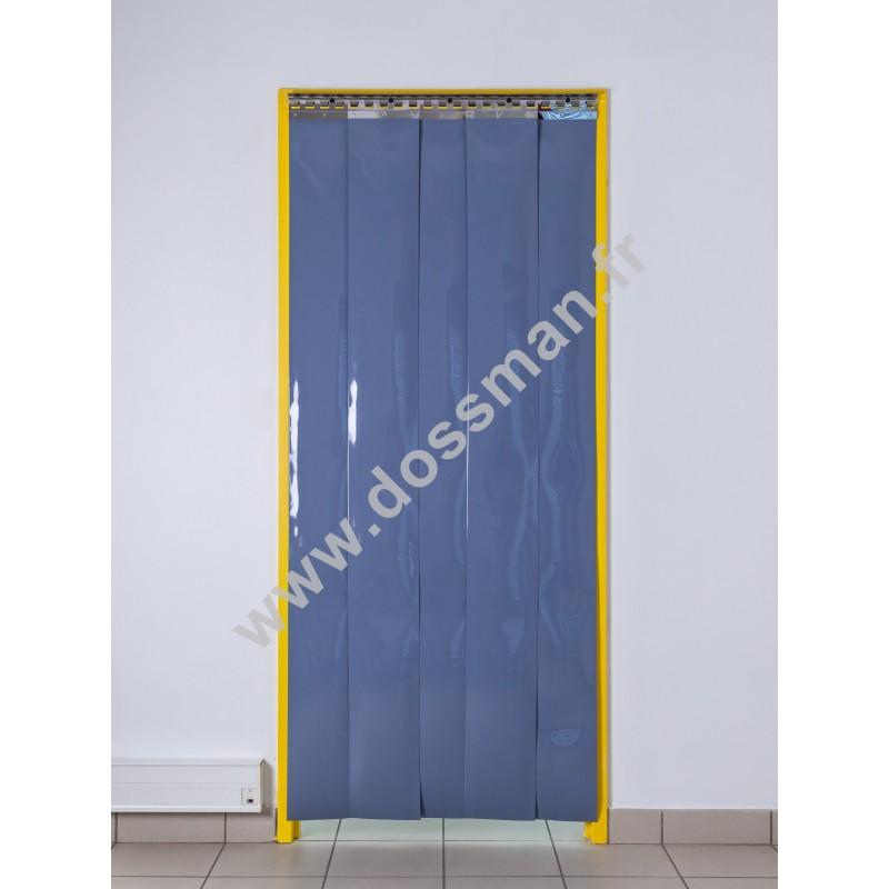 Rideau à lanière PVC - 200x2 mm - Isolation faible 36 mm (36 %) - Opaque Gris - Porte à lamelles TRAFFIC SYSTEM