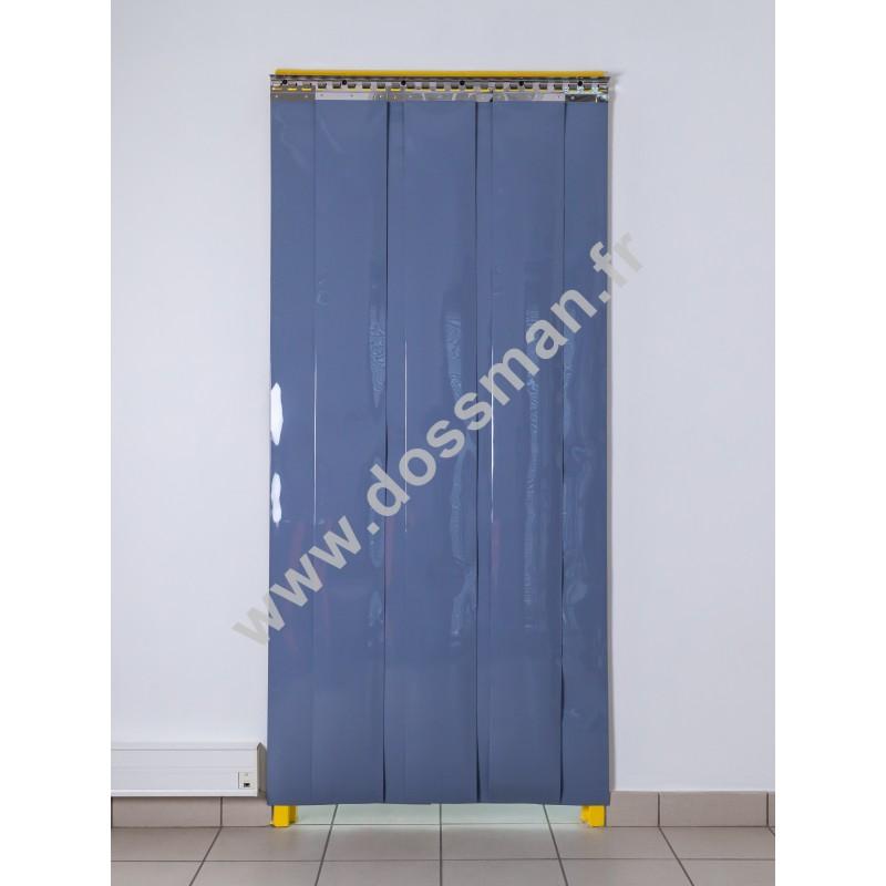 Rideau à lanière PVC - 200x2 mm - Isolation forte 77 mm (77 %) - Opaque Gris - Porte à lamelles TRAFFIC SYSTEM