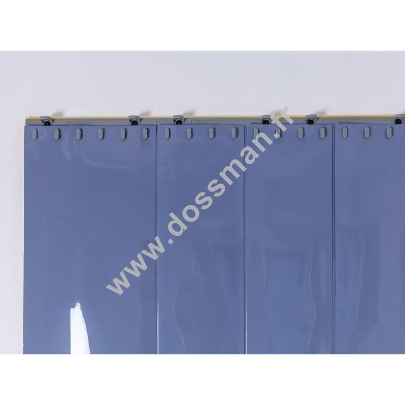 Rideau à lanière PVC - 200x2 mm - Isolation forte 100 mm (100 %) - Opaque Gris - Porte à lamelles QUICK SYSTEM