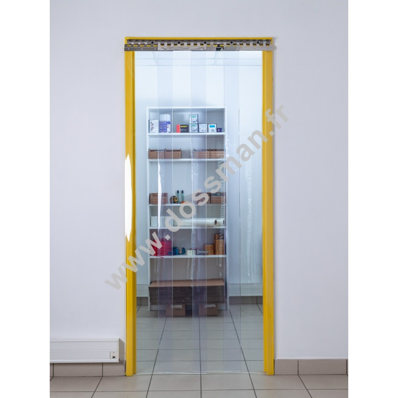 Rideau à lanière PVC - 300x3 mm - Isolation moyenne 95 mm (63 %) - Transparent Standard - Porte à lamelles TRAFFIC SYSTEM