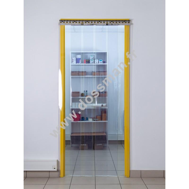 Rideau à lanière PVC - 300x3 mm - Isolation forte 136 mm (91 %) - Transparent Standard - Porte à lamelles TRAFFIC SYSTEM