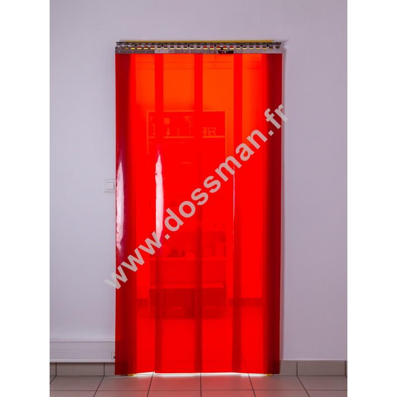 Rideau à lanière PVC - 300x3 mm - Isolation faible 54 mm (36 %) - Transparent Rouge - Porte à lamelles TRAFFIC SYSTEM