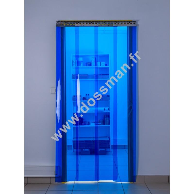 Rideau à lanière PVC - 300x3 mm - Isolation faible 54 mm (36 %) - Transparent Bleu - Porte à lamelles TRAFFIC SYSTEM