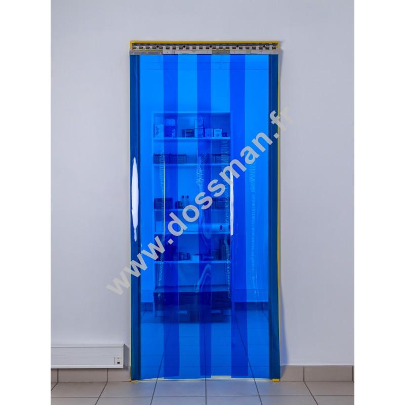 Rideau à lanière PVC - 300x3 mm - Isolation moyenne 95 mm (63 %) - Transparent Bleu - Porte à lamelles TRAFFIC SYSTEM