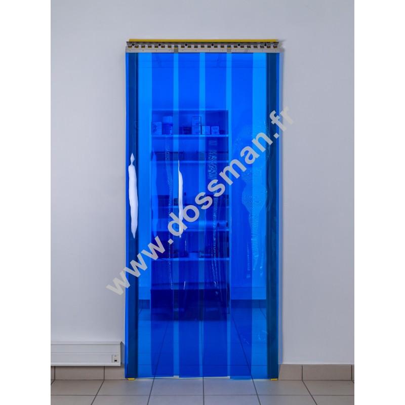Rideau à lanière PVC - 300x3 mm - Isolation forte 136 mm (91 %) - Transparent Bleu - Porte à lamelles TRAFFIC SYSTEM