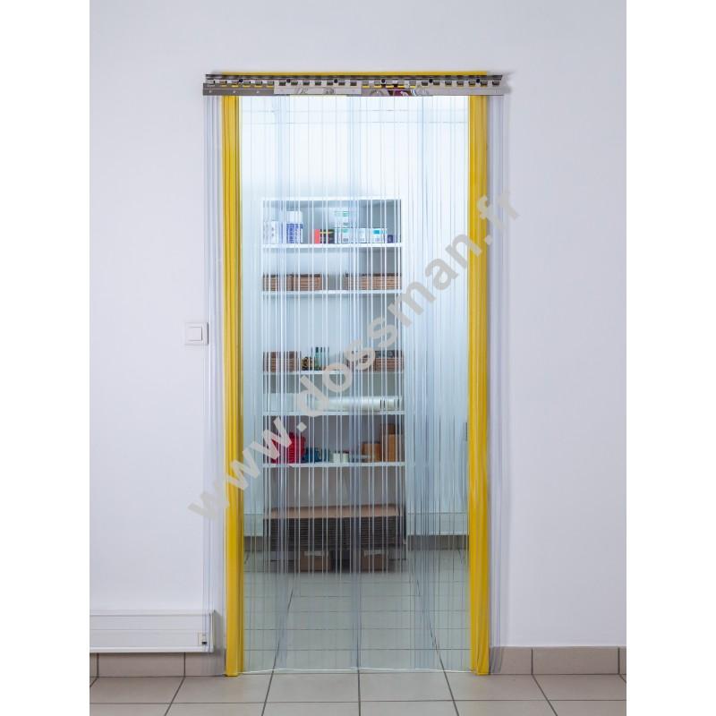 Rideau à lanière PVC - 300x3 mm - Isolation faible 54 mm (36 %) - Transparent - Porte à lamelles TRAFFIC SYSTEM CONFOR