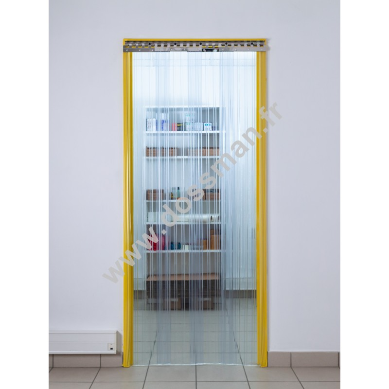 Rideau à lanière PVC - 300x3 mm - Isolation moyenne 95 mm (63 %) - Transparent - Porte à lamelles TRAFFIC SYSTEM CONFOR