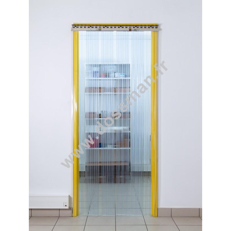 Rideau à lanière PVC - 300x3 mm - Isolation forte 136 mm (91 %) - Transparent - Porte à lamelles TRAFFIC SYSTEM CONFOR