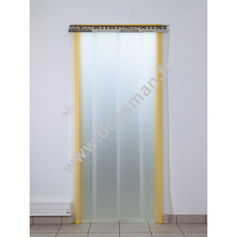 Rideau à lanière PVC - 300x3 mm - Isolation faible 54 mm (36 %) - Translucide Mat - Porte à lamelles TRAFFIC SYSTEM