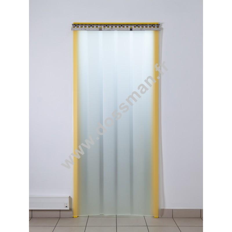 Rideau à lanière PVC - 300x3 mm - Isolation forte 136 mm (91 %) - Translucide Mat - Porte à lamelles TRAFFIC SYSTEM