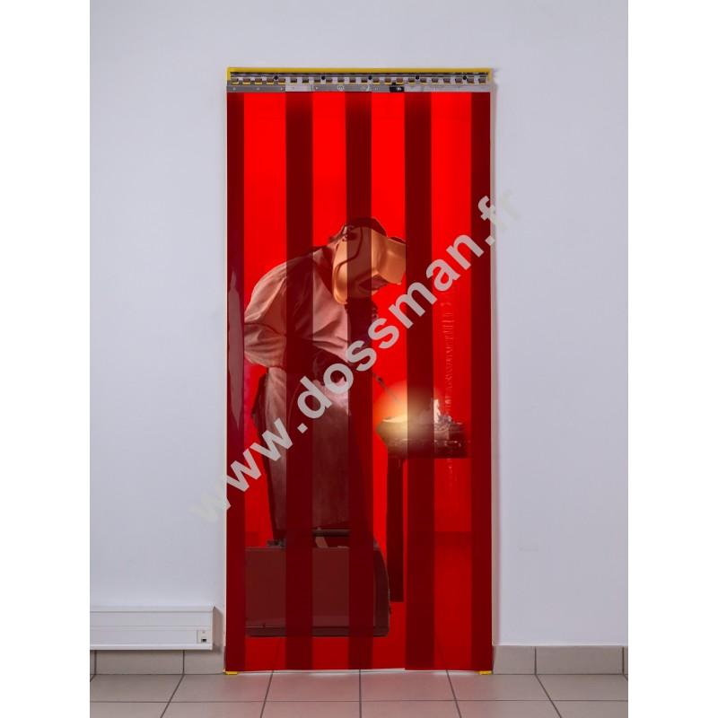 Rideau à lanière PVC - 300x3 mm - Isolation moyenne 95 mm (63 %) - Soudure Rouge - Porte à lamelles TRAFFIC SYSTEM