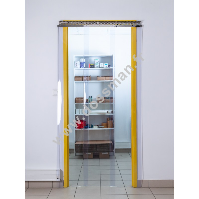 Rideau à lanière PVC - 400x4 mm - Isolation faible 72 mm (36 %) - Transparent Standard - Porte à lamelles TRAFFIC SYSTEM
