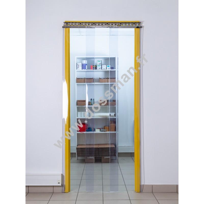 Rideau à lanière PVC - 400x4 mm - Isolation moyenne 113 mm (57 %) - Transparent Standard - Porte à lamelles TRAFFIC SYSTEM