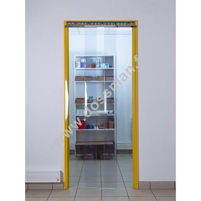 Rideau à lanière PVC - 400x4 mm - Isolation forte 154 mm (77 %) - Transparent Standard - Porte à lamelles TRAFFIC SYSTEM